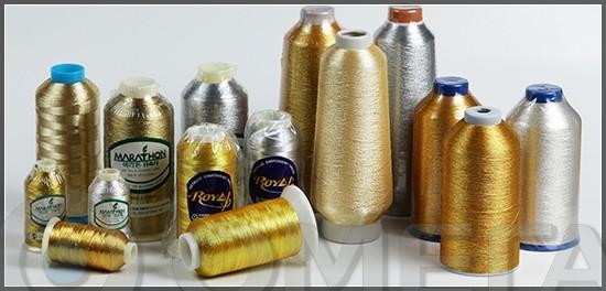 Нитки для машинной вышивки металлизированные