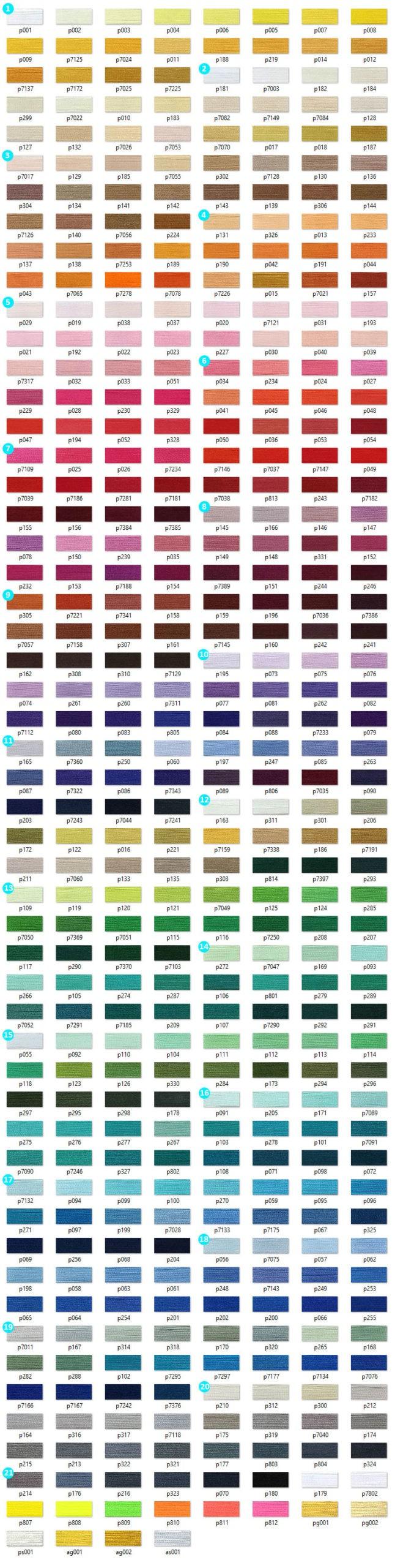 Карта цветов ниток для машинной вышивки ROYAL Полиэстер