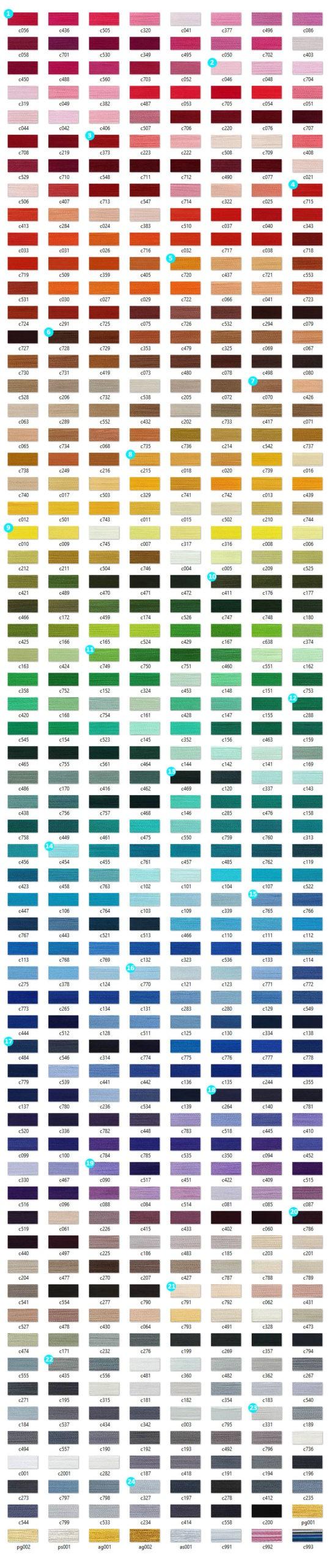 Карта цветов ниток для машинной вышивки ROYAL Вискоза
